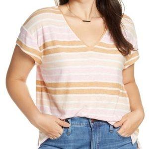 Madewell Skyline Stripe Pink/Tan Short Sleeve-S